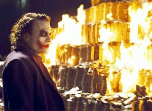joker dollars burning