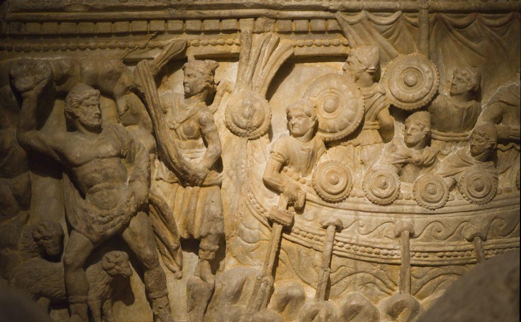Odysseus escapes Polyphemos - Etruskische askist