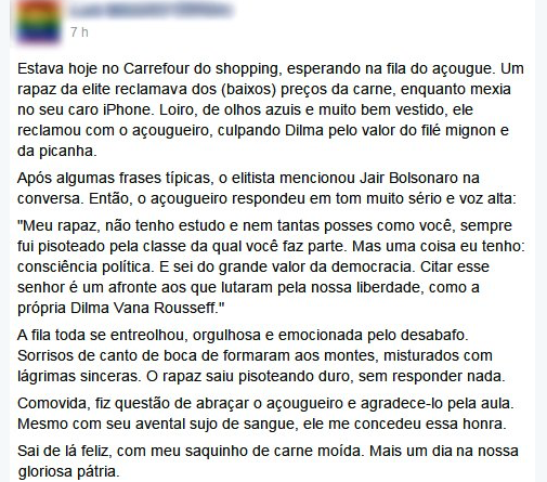 Fanfic de esquerda do Carrefour: Dilma Vana Rousseff.