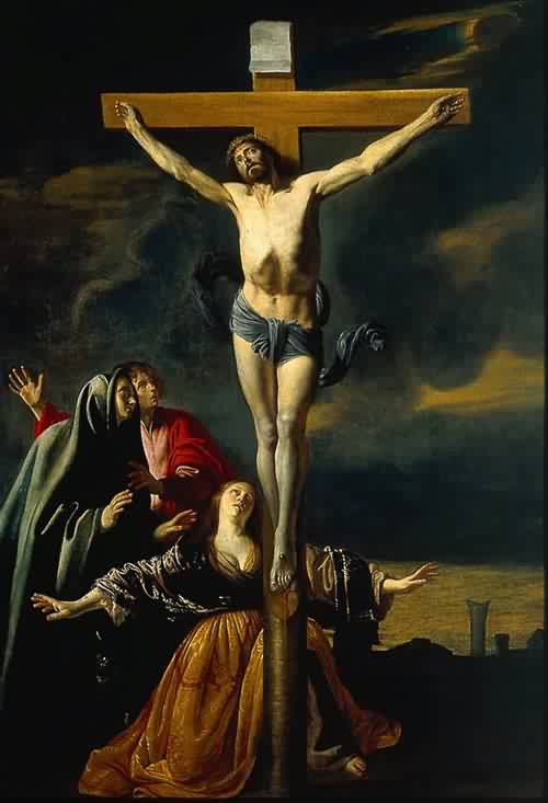 Crucifixion-with-the-Virgin-Saints-John-and-Mary-Magdalene - Mathieu-Le-Nain