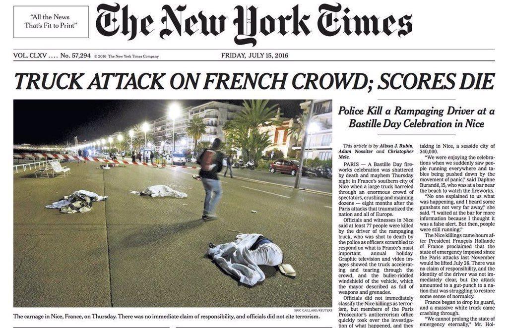 """Capa do New York Times fala em """"ataque de caminhão"""""""