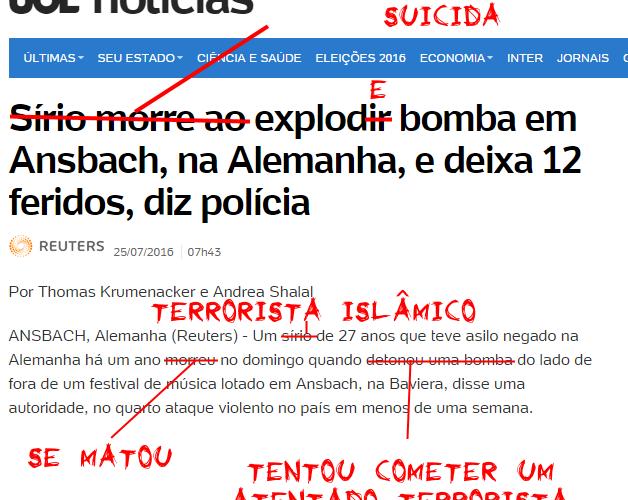 """Caneta desesquerdizadora - UOL Notícias - """"Sírio morre ao explodir bomba"""""""