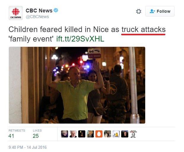 """Twitter da CBS fala em """"ataque de caminhão"""""""