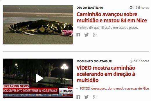 """G1 Chamadas sobre """"caminhão"""" que atropela multidão em Nice"""