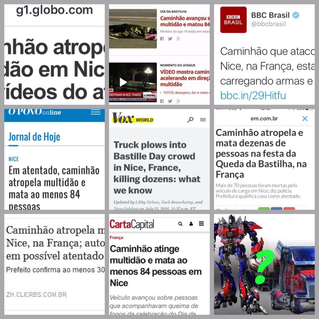 Mosaico de manchetes sobre o caminhão assassino terrorista de Nice