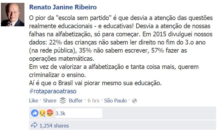 Renato Janine Ribeiro Escola Sem Partido Facebook