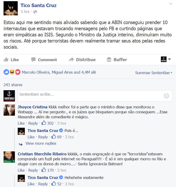 Tico Santa Cruz no Facebook debocha do Estado Islâmico