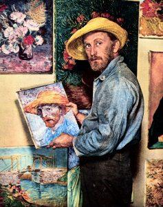 Van Gogh segurando quadro de Van Gogh