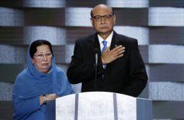 Khizr Khan e Gazhala apoiando Hillary Clinton