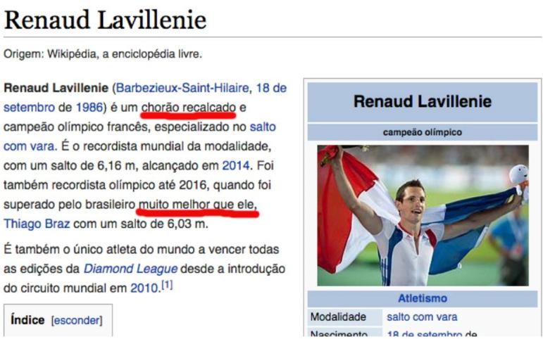 """Renaud Lavillenie na Wikipédia: """"chorão recalcado""""."""