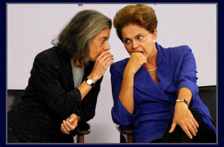 A presidente Carmen Lúcia e a presidenta Dilma Rousseff