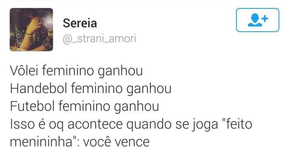 """Tweet de """"Sereia"""" defendendo o feminismo em esportes como futebol, vôlei e handebol."""