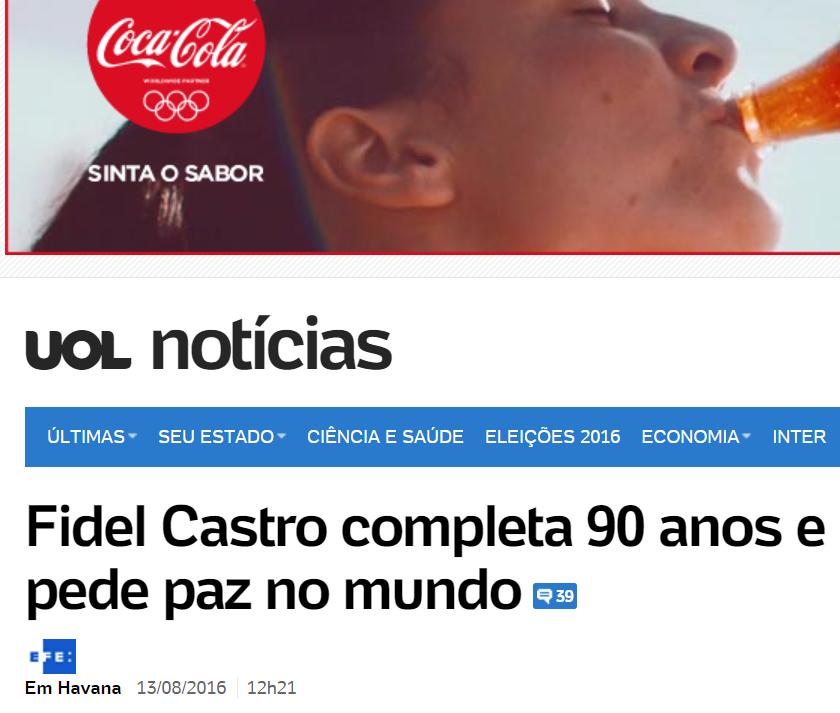 UOL manchete: Fidel Castro completa 90 anos e pede paz no mundo