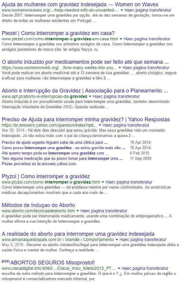 """Pesquisa no Google sobre """"interromper a gravidez"""" (aborto)"""