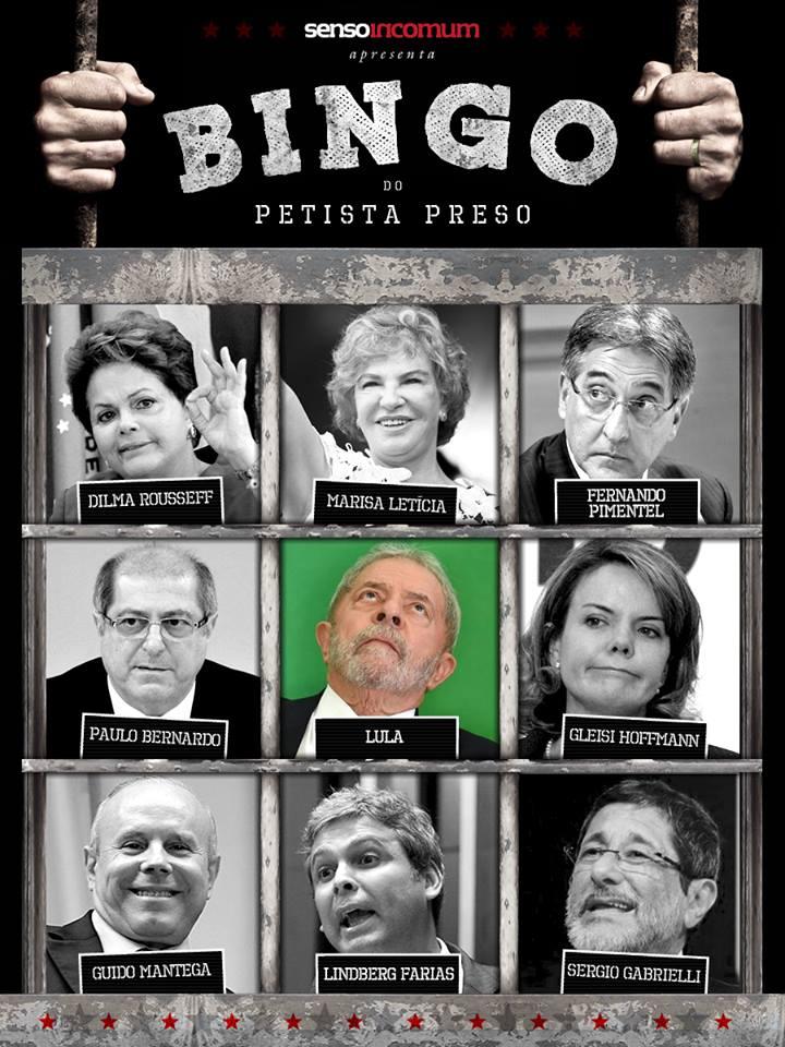 Bingo do petista preso, por SensoIncomum.org. Leia: http://sensoincomum.org/