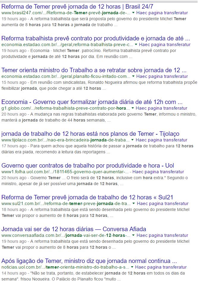"Google - manchetes sobre ""jornada de 12 horas""."