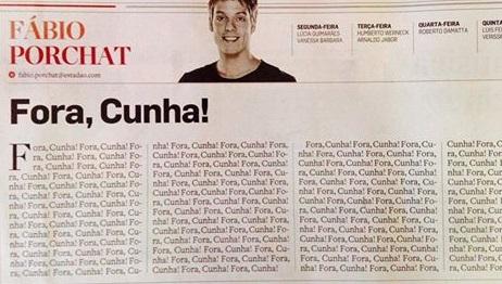 Coluna de Fábio Porchat no Estadão: Fora Cunha!