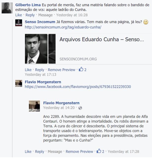 Senso Incomum Facebook - E o Cunha?