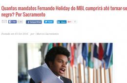 Diário do Centro do Mundo (DCM) julga Fernando Holiday, do MBL, vereador pelo DEM, por ser negro.