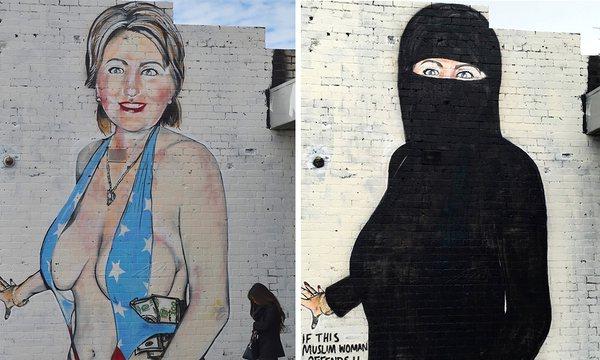 Hillary Clinton de biquini, posteriormente coberta por uma burca
