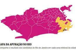 Mapa da apuração eleitoral no segundo turno do Rio de Janeiro, entre Marcelo Crivella e Marcelo Freixo.