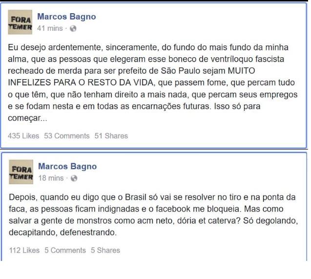 Marcos Bagno prega assassinato em seu Facebook.