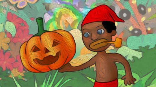 Saci com abóbora de Halloween