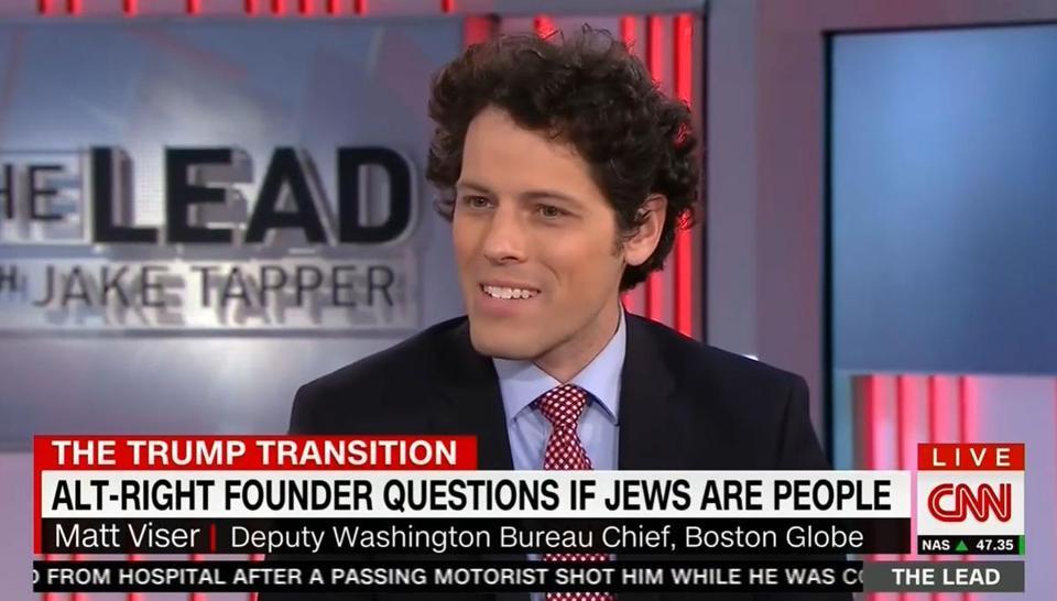 CNN apresenta jornalista do Boston Globe como líder da alt-right, como se ele questionasse se judeus são pessoas
