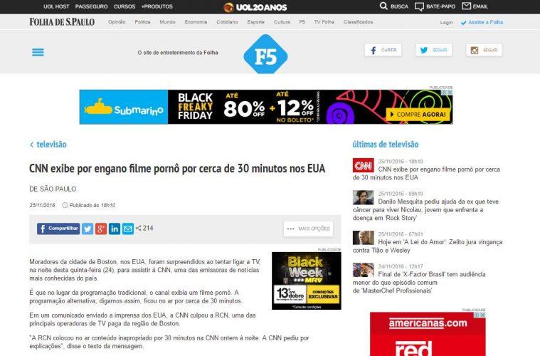 Folha de S. Paulo acredita que CNN exibiu filme pornô.