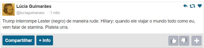 Lúcia Guimarães afirma no Twitter que Donald Trump interrompe Leslie Holt porque ele é negro.