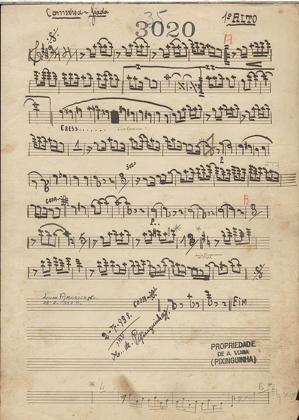 """Manuscrito do samba """"Conversa Fiada"""", de Pixinguinha"""