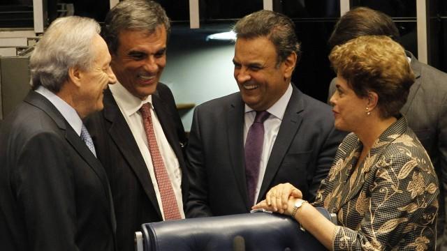 Aécio Neves, Dilma Rousseff, Ricardo Lewandowski e José Eduardo Cardozo, pós-impeachment