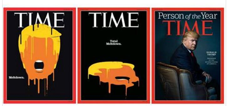 Revista Time - Donald Trump é pessoa do ano. Trump Meltdown.