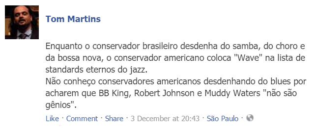 Tom Martins sobre samba e blues
