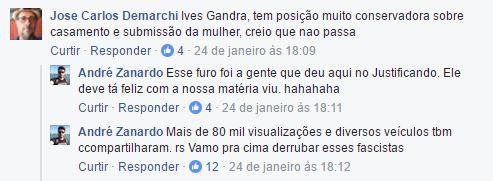 André Zanardo - Justificando e Carta Capital - Facebook - Ives Gandra, fascistas