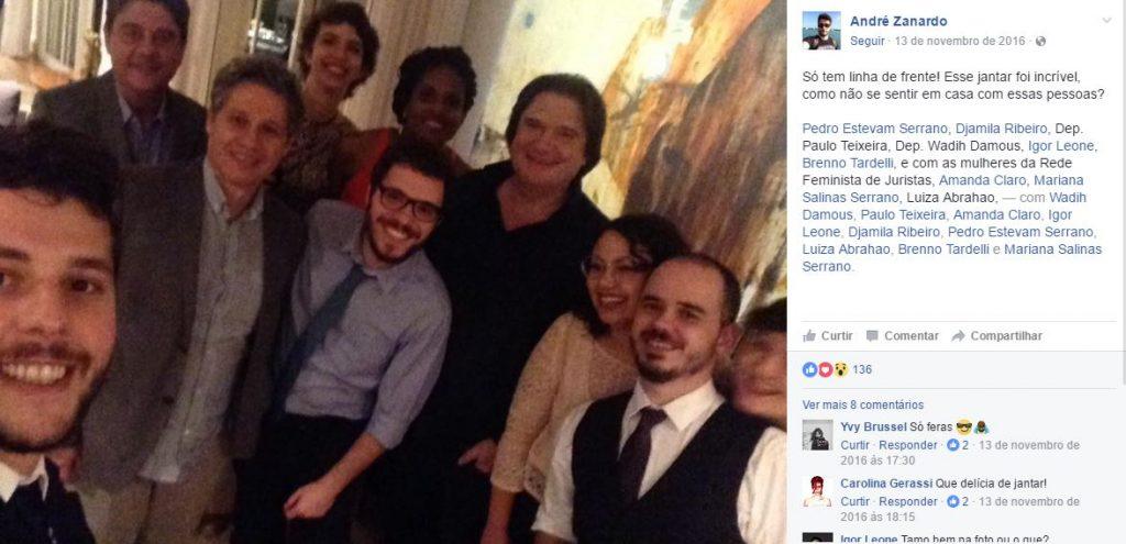 Andre Zanardo com deputados no Facebook