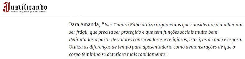 Justificando - machismo de Ives Gandra Filho