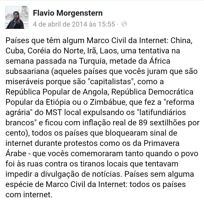 Flavio Morgenstern sobre o Marco Civil da Internet no Facebook