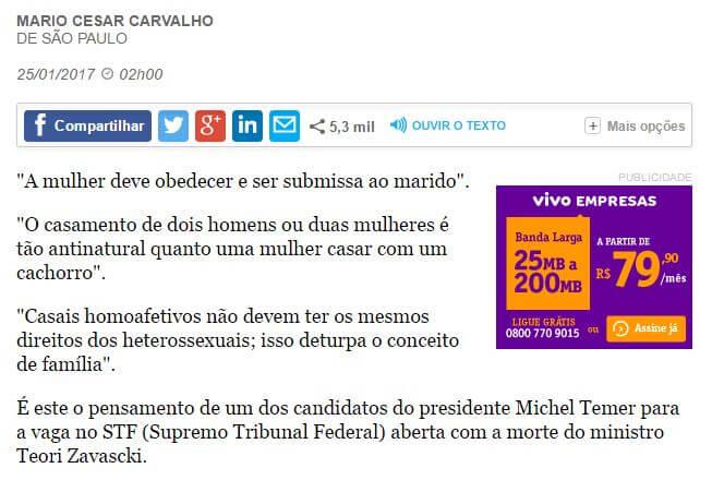 Folha de S. Paulo ataca Ives Gandra Filho