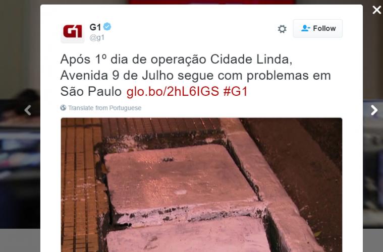 G1 reclama de João Doria após um dia de Cidade Linda