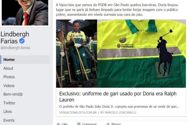 Lindbergh Farias cita Sensacionalista no Facebook