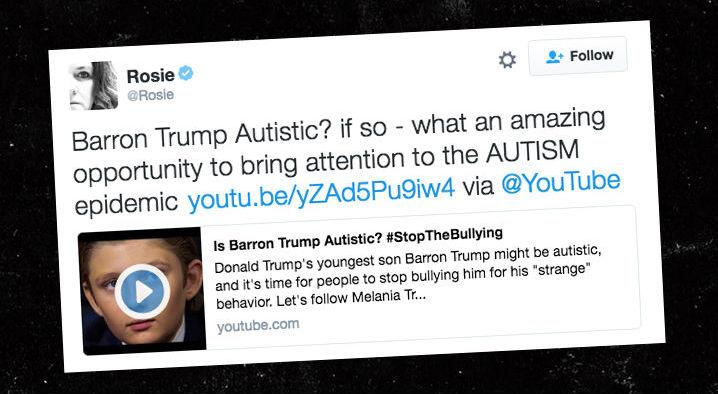 Tweet Rosie - Barrom Trump é autista?