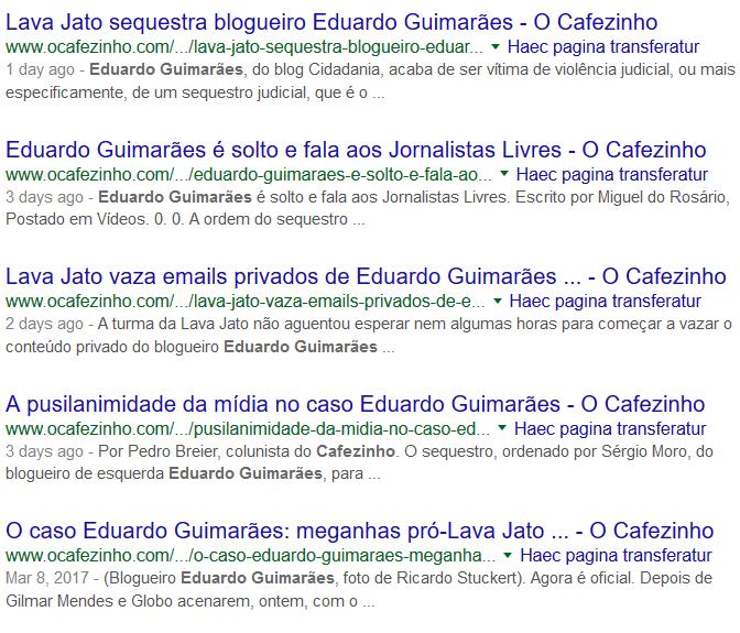 Google - O Cafézinho - Eduardo Guimarães, condução coercitiva