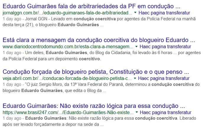 Blogs progressistas reclamam da condução coercitiva de Eduardo Guimarães