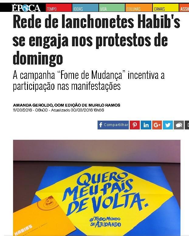 """Habib's faz propaganda nos protestos pelo impeachment de Dilma Rousseff: """"Fome de Mudança""""."""