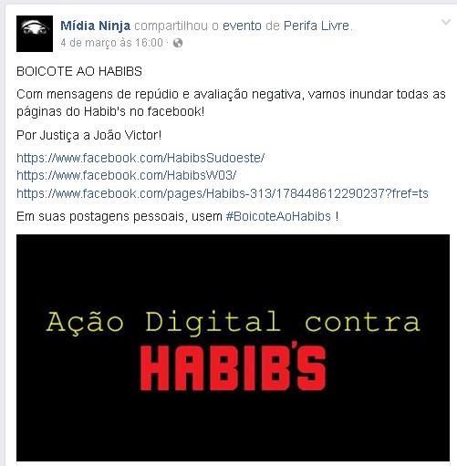Mídia Ninja compartilha Perifa Livre para boicotar o Habib's