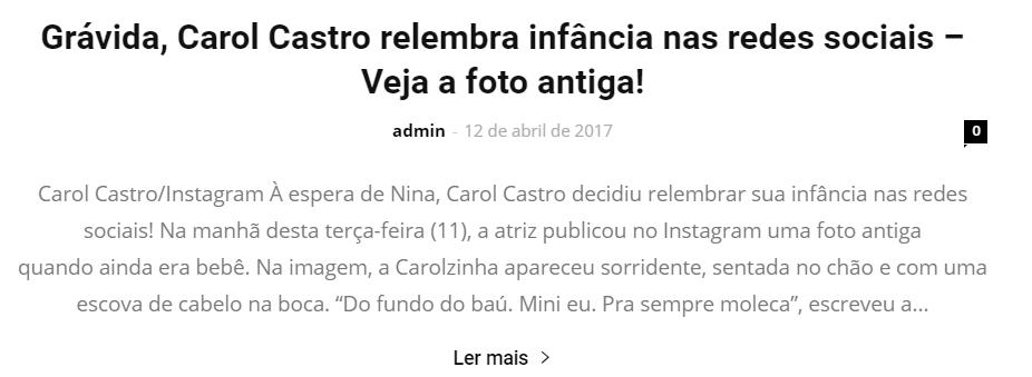 Fofoca News - Carol Castro