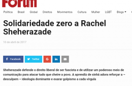 Revista Fórum, comunista e pró-PT, ataca Rachel Sheherazade