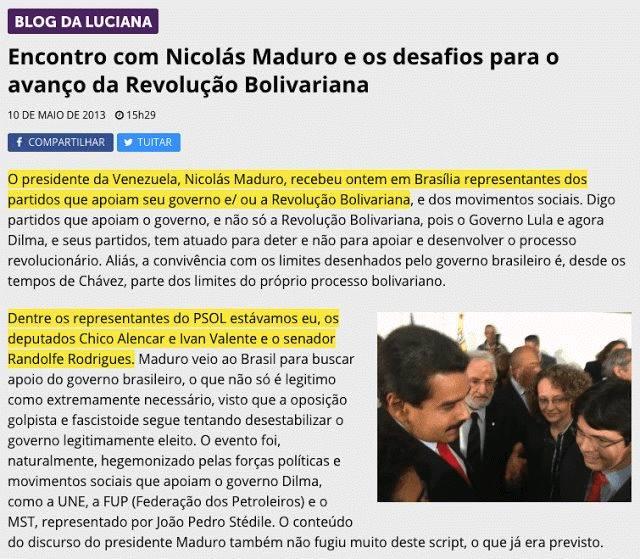 Luciana Genro defendendo o ditador Nicolás Maduro em seu Facebook.