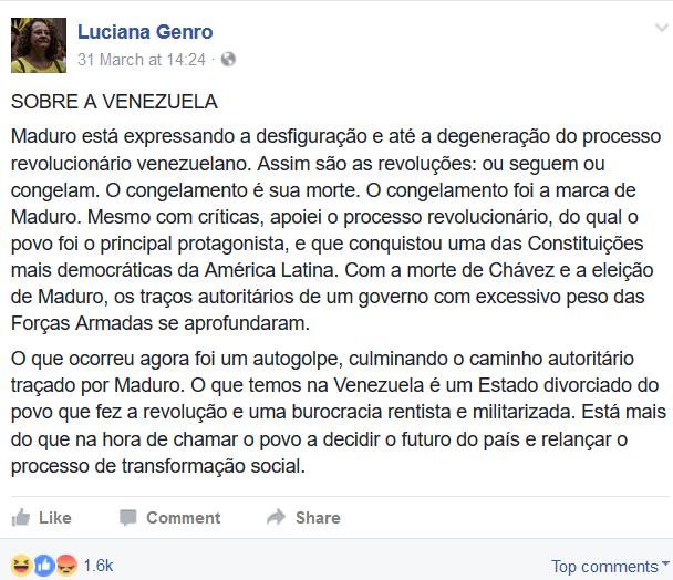 Luciana Genro sobre Maduro no Facebook